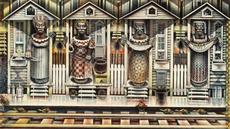 'Four Seasons' lithograph by John Biggers, for The Dirty South exhibition at Richmond's VMFA Image