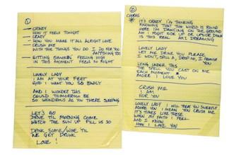 Handwritten lyrics from the Dave Matthews Band. Photo from the GRAMMY Museum