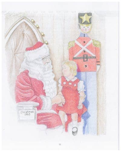 Little girl sitting on Santa's lap in 1963. From the book 'Santa and the Cotton Tree,' illustration by Linda E. Jones (used by permission)