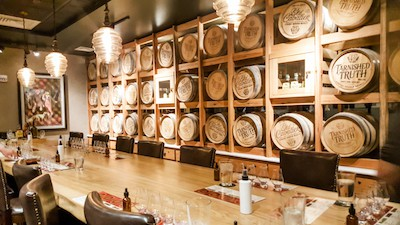 Barrels in the Tarnished Truth Tasting Room, in the Cavalier Hotel in Virginia Beach