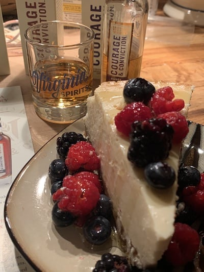 Virginia Distillery Courage & Conviction Cuvee Cask paired with cheesecake