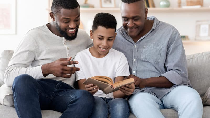 Multigenerational family: Black son, grandson, and granddad, for