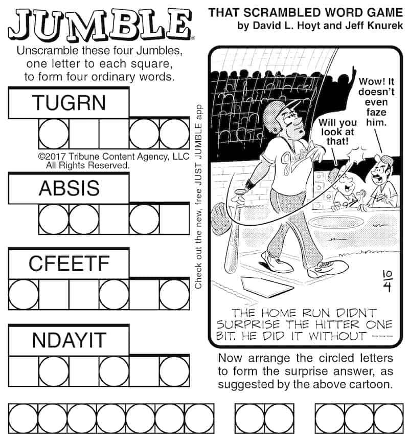 Jumble puzzle exercises the brain