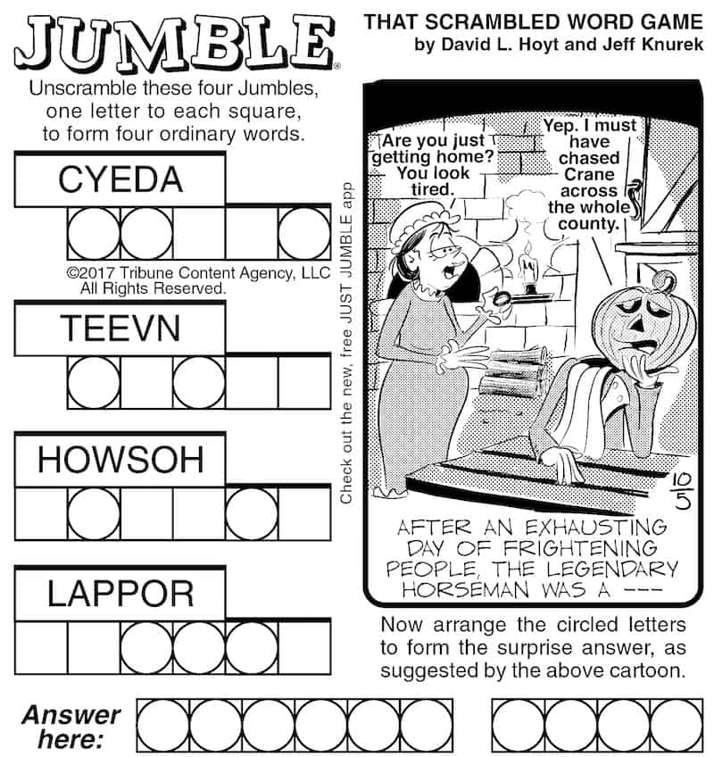 Jumble unscramble the words puzzle
