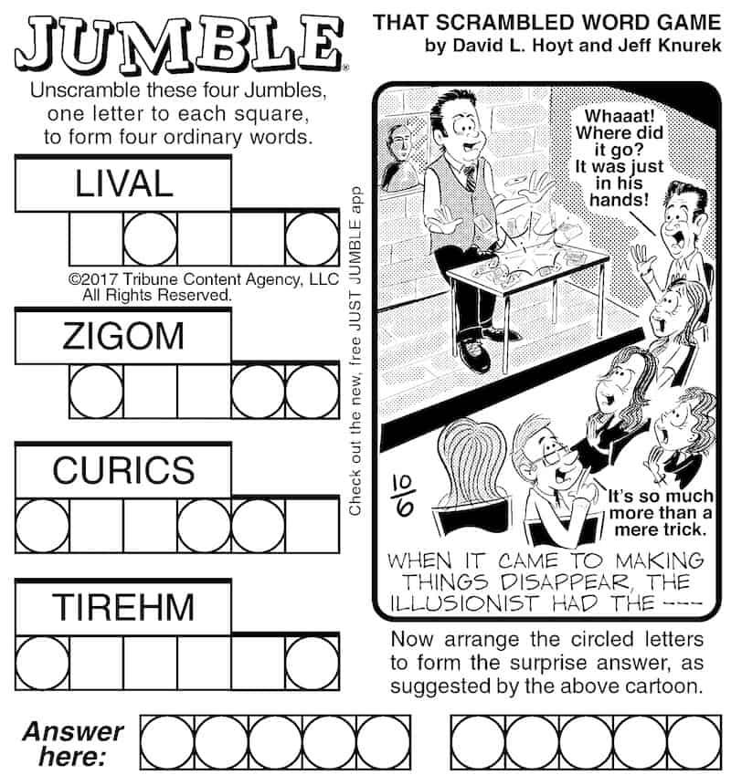 Jumble puzzle brain magic
