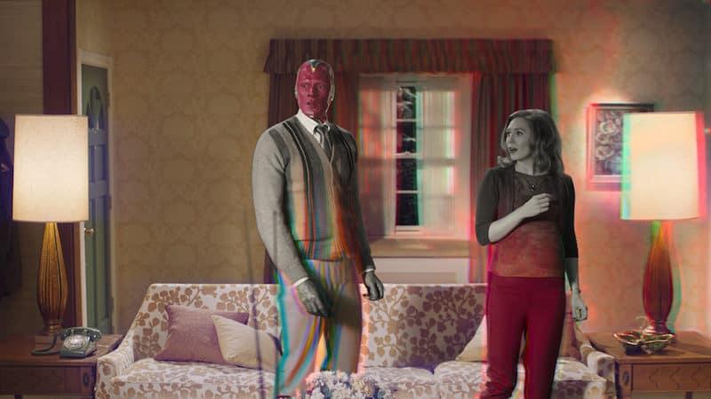 "Paul Bettany and Elizabeth Olsen in ""WandaVision."" CREDIT: Disney+/TNS. Elizabeth Olsen Talks About 'WandaVision' Image"