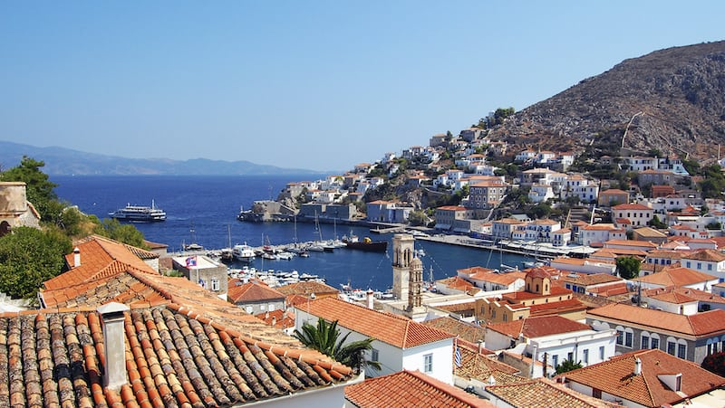 The port town of Hydra: relaxation reigns in the Greek isle of Hydra. CREDIT: Rick Steves, Rick Steves' Europe Image