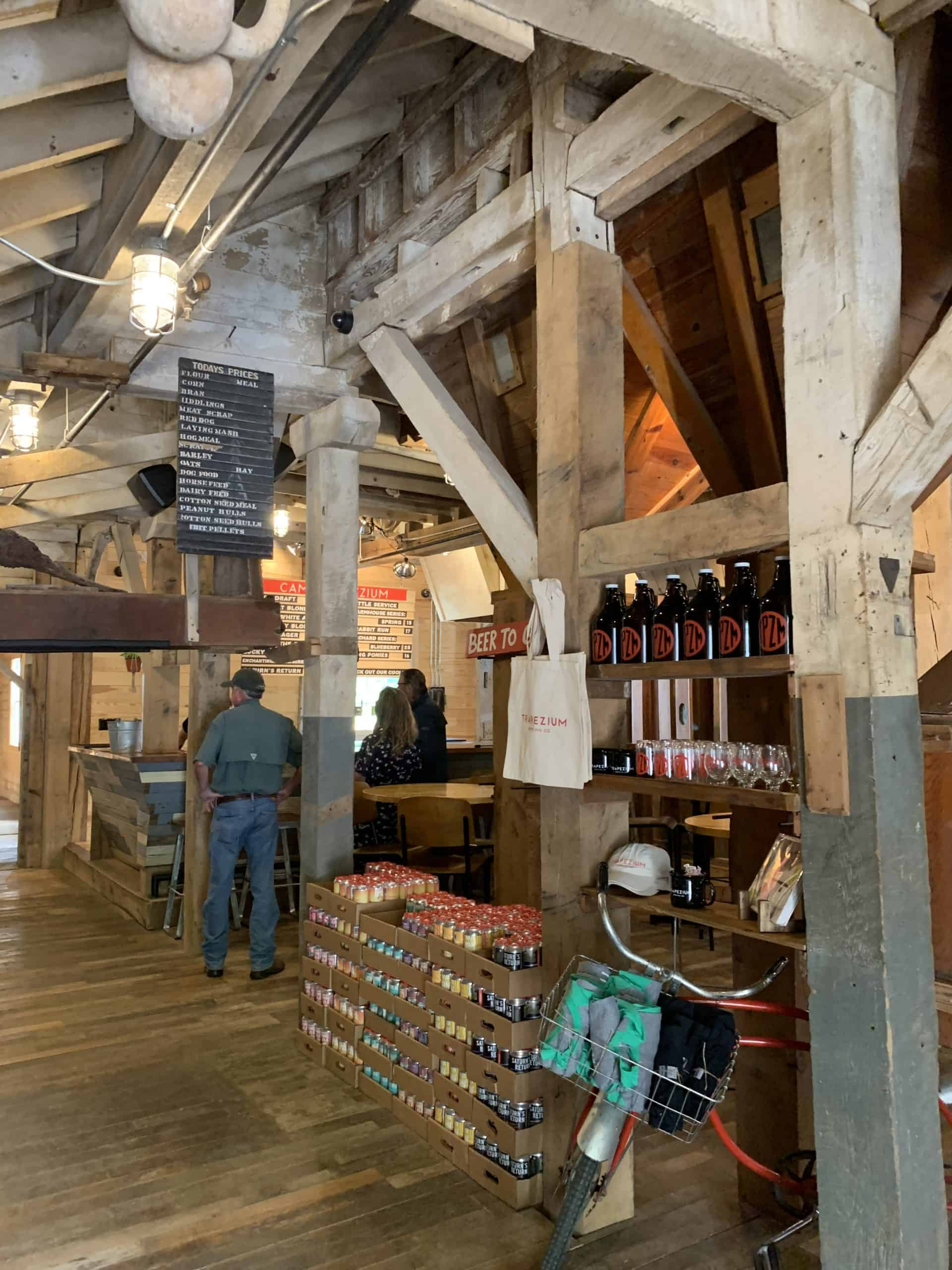 Camp Trapezium tasting room from the front entrance, showing the bones of the old mill