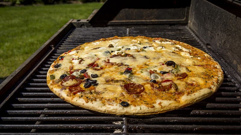 Pizza on the grill Image