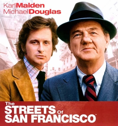 Michael Douglas and Karl Malden, publicity photo for The Streets of San Francisco - ABC Television