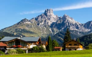 mountains and chalets near Salzburg Austria daliu80 dreamstime Image