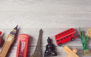 A hodge lodge of souvenirs - London double decker, Eiffel Tower, Buddha, and more. Souvenirs preserve and unlock memories. Image