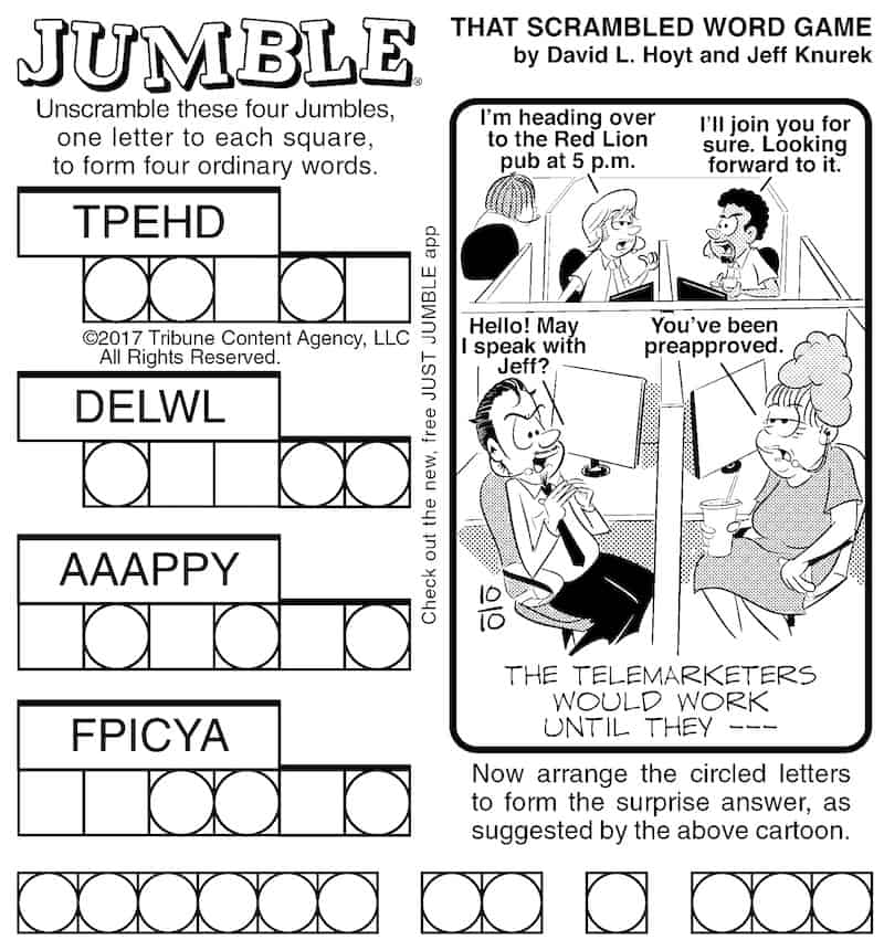 Jumble puzzle for Boomer magazine