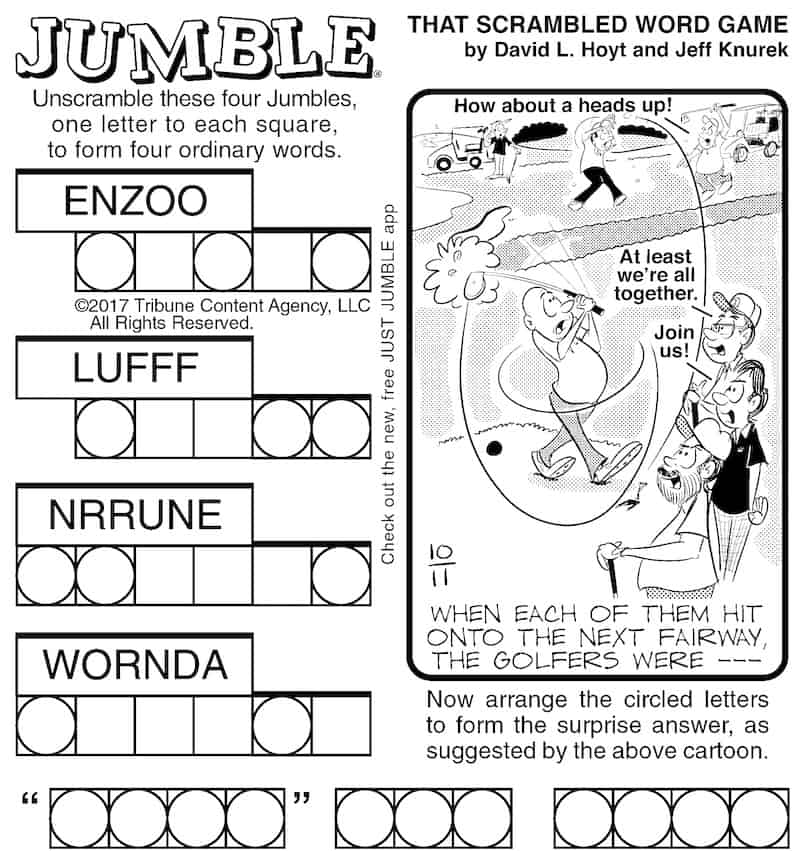 Classic Jumble puzzle for brain building exercise and fun