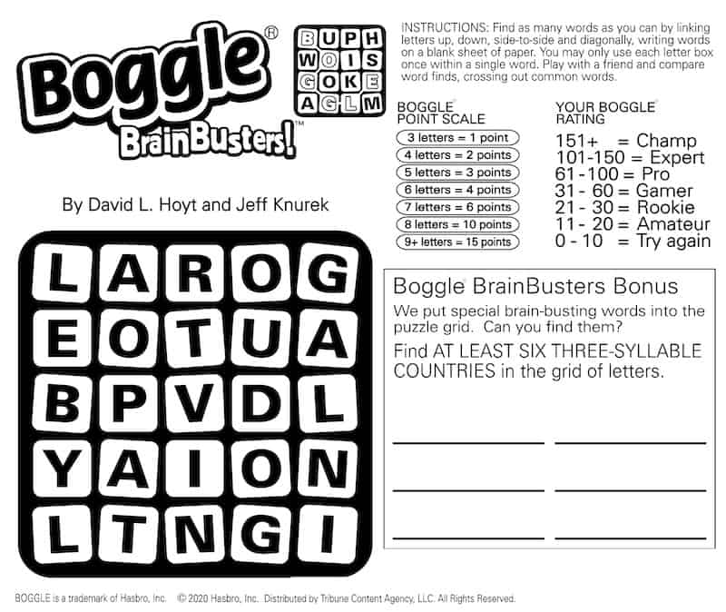 Boggle puzzle, featuring Boggle Country Search Bonus