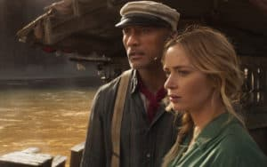 """: Dwayne Johnson and Emly Blunt in """"Jungle Cruise."""" CREDIT: Disney+/TNS. For 'Jungle Cruise' movie review Image"""