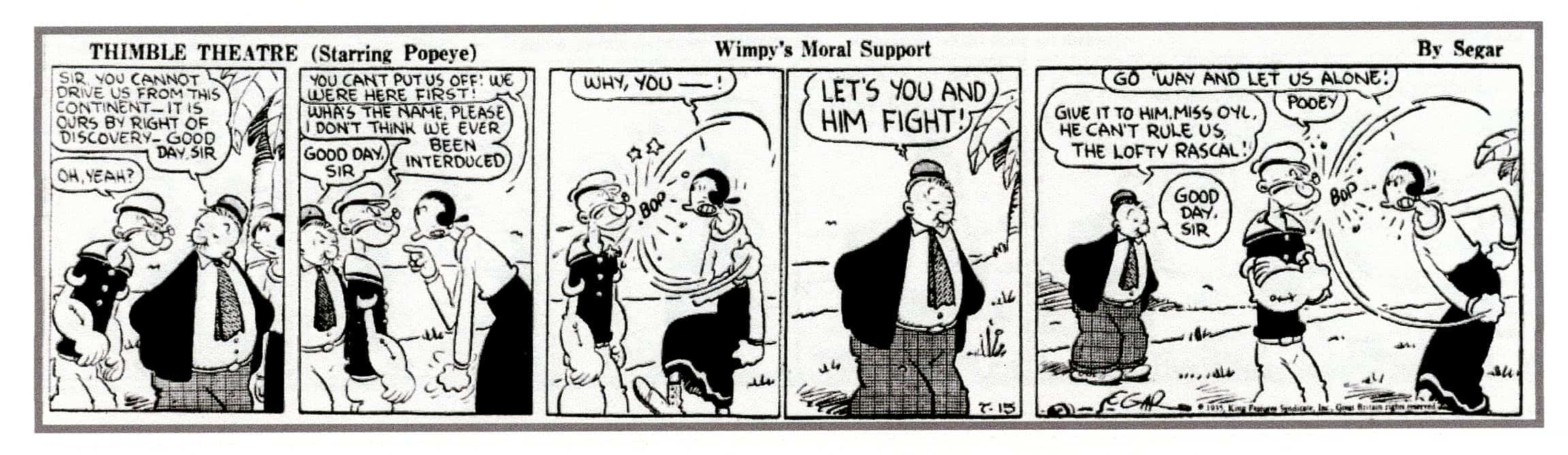3. Wimpy recites one of his famous one-liners on July 15, 1935 by E.C. Segar
