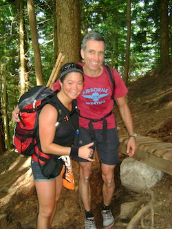 Writer Doug Setter and Trish Dong on the Grouse Grind trail in Canada
