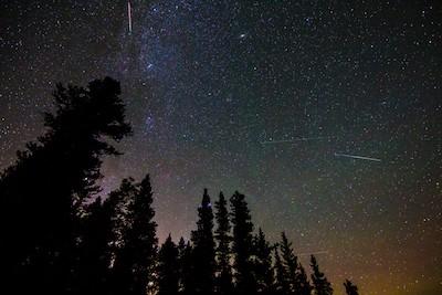Meteors in a night sky, from a Perseid Meteor Shower