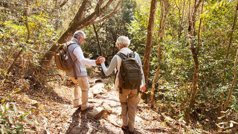 senior couple hiking. photo credit: hongqi zhang dreamstime. For article on 5 Outdoor Exercise Safety Tips Image