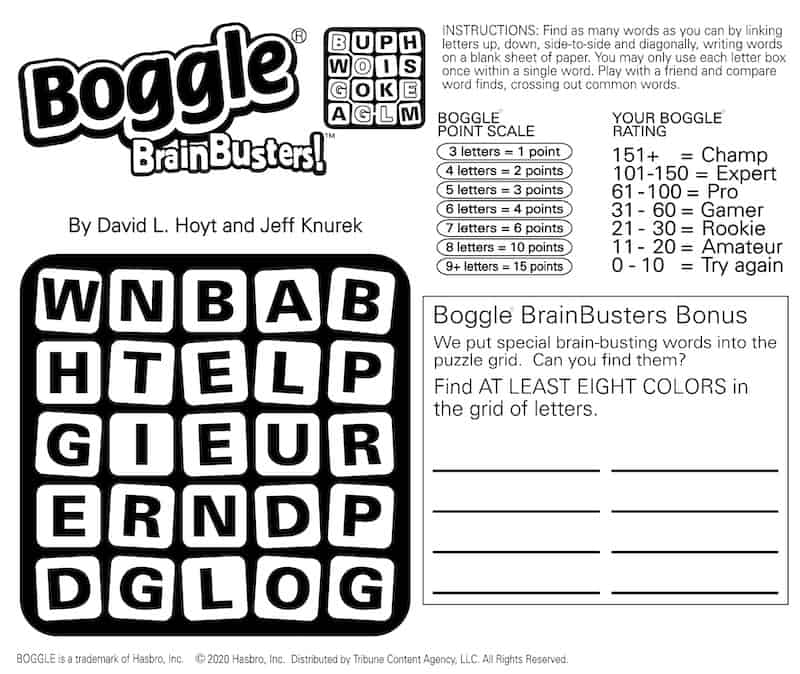 Boggle BrainBusters puzzle: Word search puzzle for colors and more