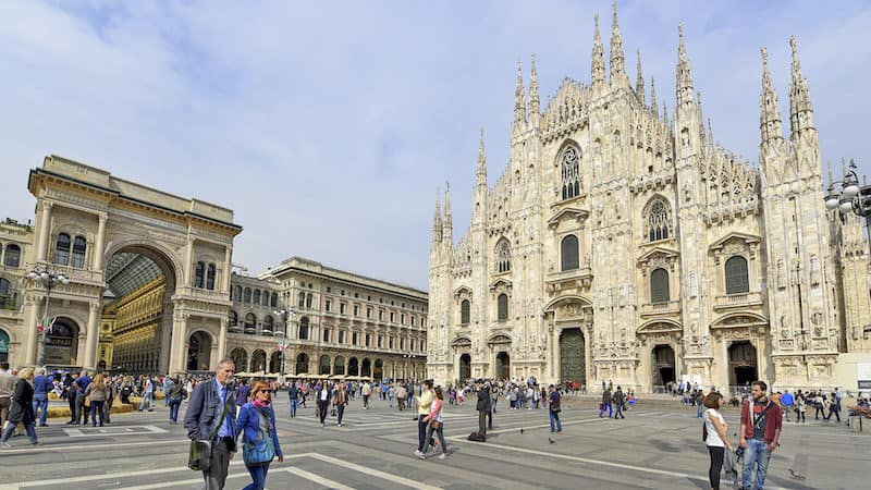 Milan's main square and cathedral. CREDIT: Cameron Hewitt, Rick Steves' Europe Image