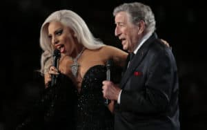 Lady Gaga and Tony Bennett perform at the 57th Annual Grammy Awards at Staples Center in Los Angeles on Sunday, Feb. 8, 2015. (Robert Gauthier/Los Angeles Times/TNS). For article on Tony Bennett's final performances Image