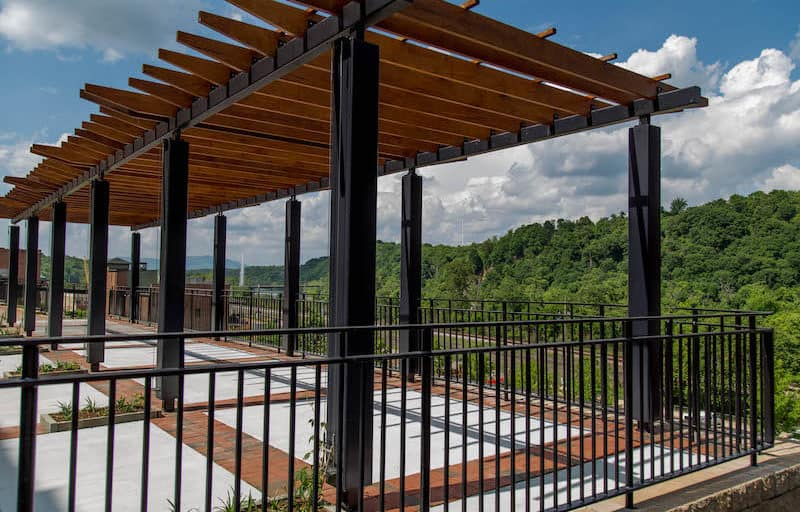 Lower Bluffwalk pergola overlooking the James River and out at the Blue Ridge Mountains in Downtown Lynchburg, Virginia - Credit City of Lynchburg, Virginia