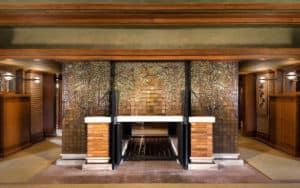 Martin House Wisteria Mosaic Fireplace. Photo credit: Digati. For article on the new Frank Lloyd Wright Road Trip Image