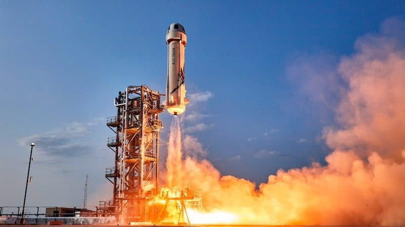 Blue Origin, commercial flight in the New Shepard missile. Photo credit: Blue Origin. For article: Greg Schwem: I want my own Amazon spacecraft Image