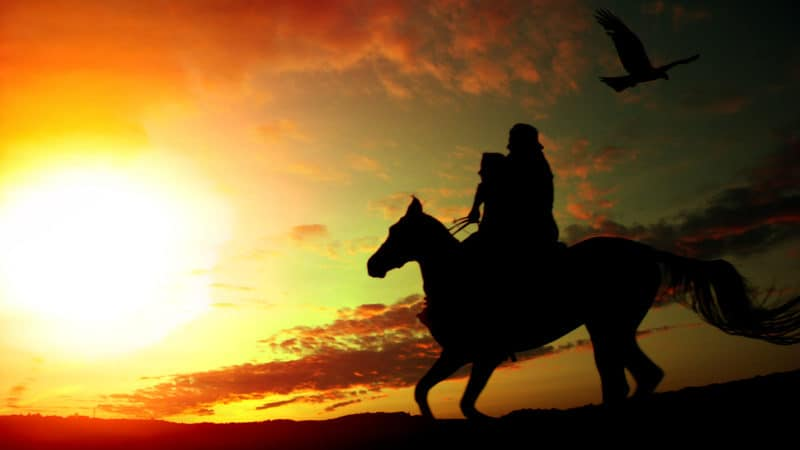 Father and daughter on a horse, silhouetted against the setting sun. For Farmer and father fights COVID Image