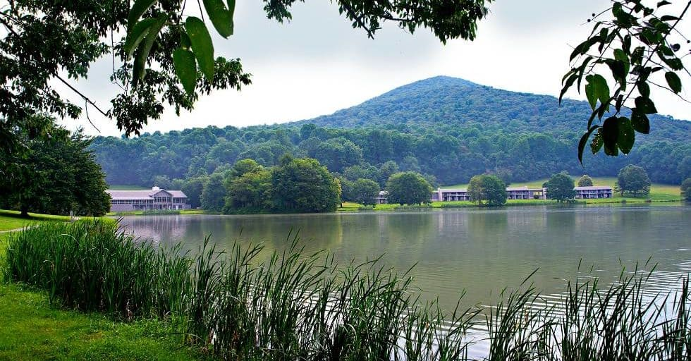 Peaks of Otter Lodge along the Blue Ridge Parkway in Virginia from across the lake