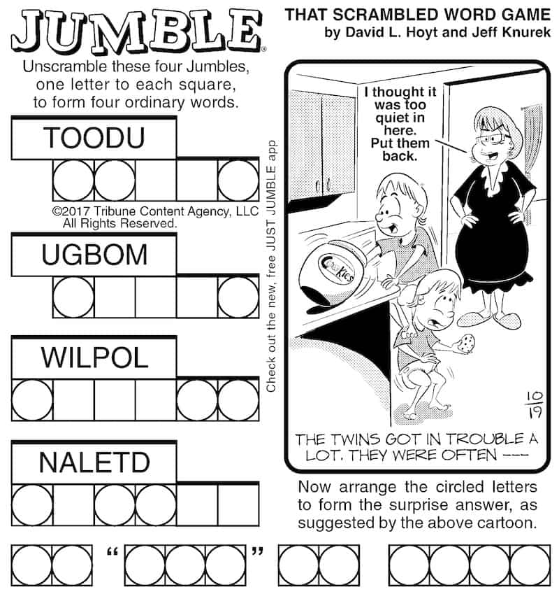 Classic Jumble brain puzzle fun: Exercise your mind with one of America's favorite puzzles. Fun, stimulating, and picked for baby boomers.