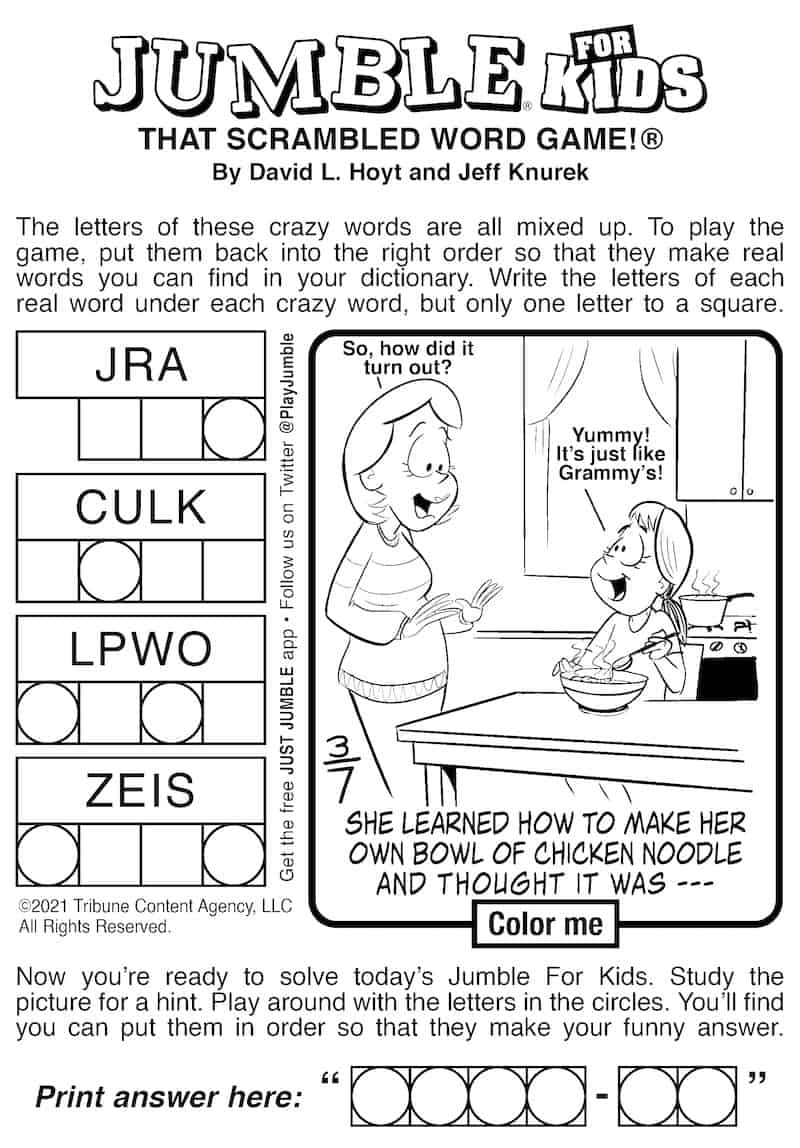 Jumble puzzle for kids and adults: