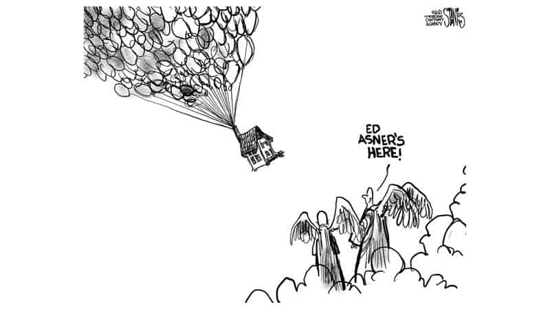Cartoon of angels welcoming Ed Asner to heaven, for column on a personal tribute to Ed Asner Image