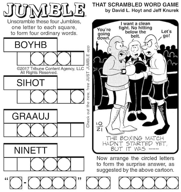 Jumble scrambled word game