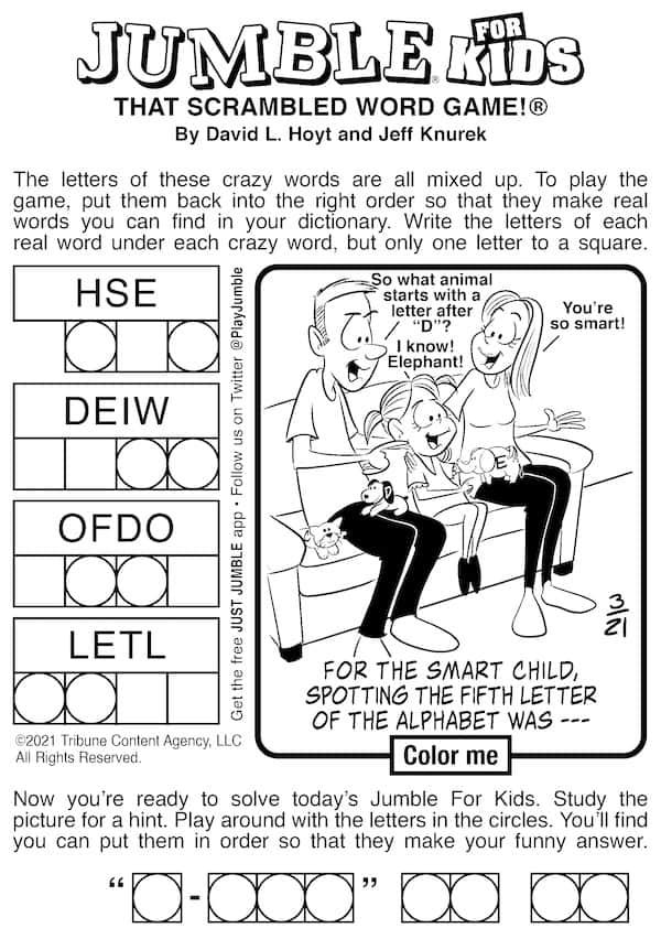 Jumble scrambled word game for kids