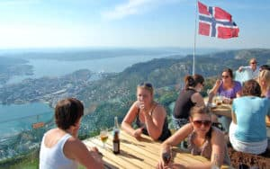 A flag-flying perch above Bergen, Norway. For article on expanding cultural horizons in Norway Image
