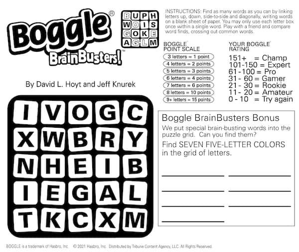 Boggle word find brain game puzzle