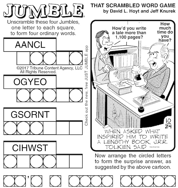 Classic Jumble puzzle for adults