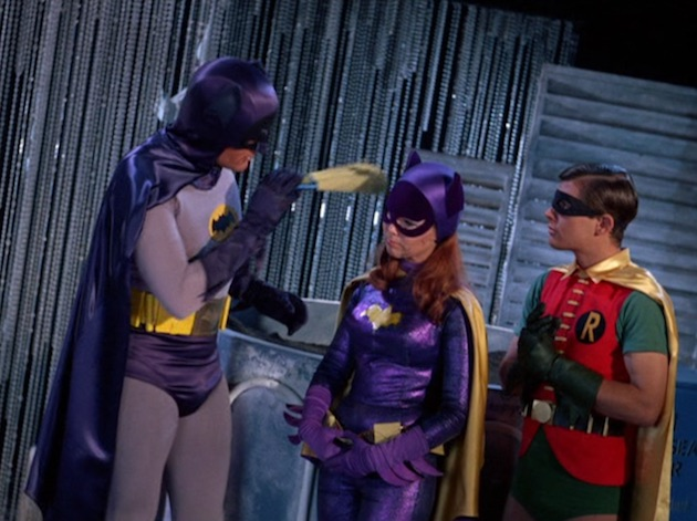 Batman suggests to Batgirl that crime fighting is better left to the men in 'The Ogg Couple' (1967).
