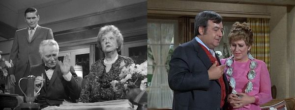 Left-Hedley Partridge (Charles Ruggles) romances Aunt Clara (Marion Lorne) Right-Ferdy (Tom Bosley) courts Esmeralda (Alice Ghostley). Both witches fear their fading powers will be discovered.