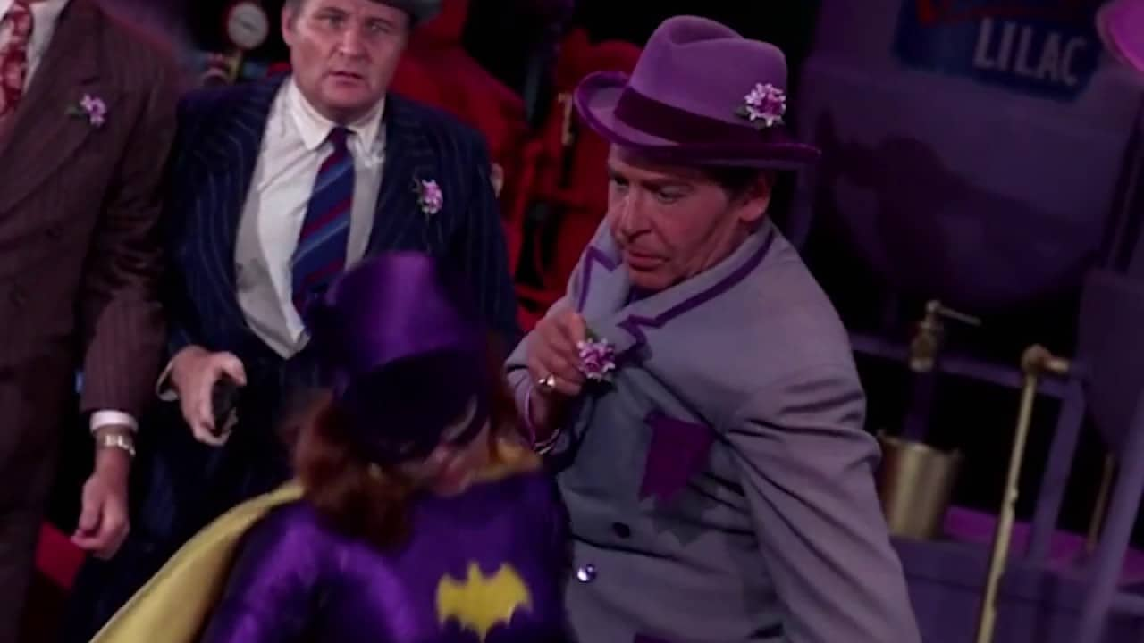 An overconfident Batgirl is easily stunned in 'Louie's Lethal Lilac Time' (1968).