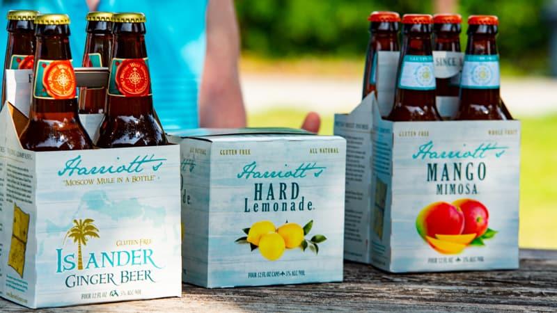 Harriott's Legacy ginger beer, mango mimosa, and hard lemonade