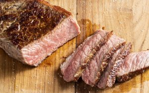 Pan seared steak: These steaks get their deliciously browned crust through the power of the Maillard reaction. For article on how to cook the perfect steak Image
