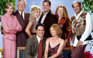 Cast of the ABC sitcom Dharma and Greg that began airing in the late 90s. Susan Sullivan at left - ABC publicity. For article on life advice from Susan Collins Image