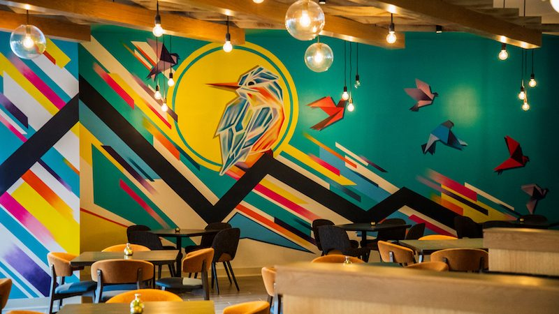 Fall Line mural by Hamilton Glass, in Fall Line Kitchen & Bar in the Richmond Marriott Image