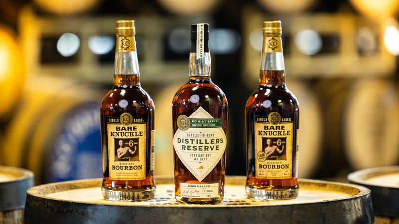 KO Distilling new releases like Distiller's Reserve Bottled-in-Bond Straight Rye Whiskey and Bare Knuckle High Rye Bourbon: Cask Strength Image